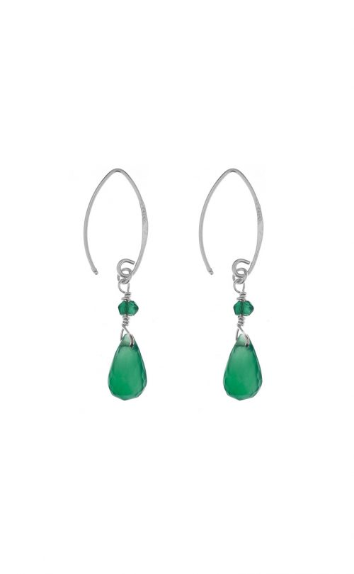 Kissed earrings Green Onyx Silver