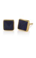 Pyramid Stud Earrings Lapis Gold