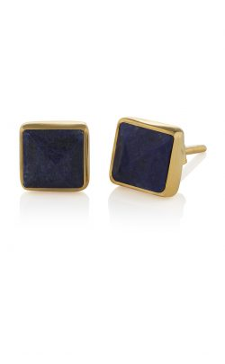 Pyramid Stud Earrings Lapis Gold