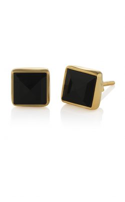 Pyramid Stud Earrings Black Onyx gold