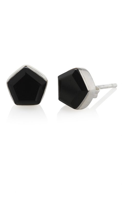 Myra Stud Earrings Black Onyx Silver