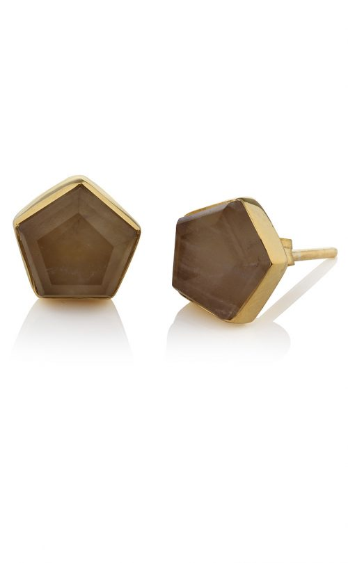 Myra Stud Earrings Smoky Quartz Gold