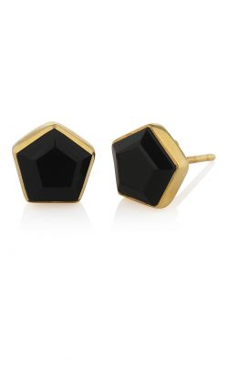 Myra Stud Earrings Black Onyx Gold