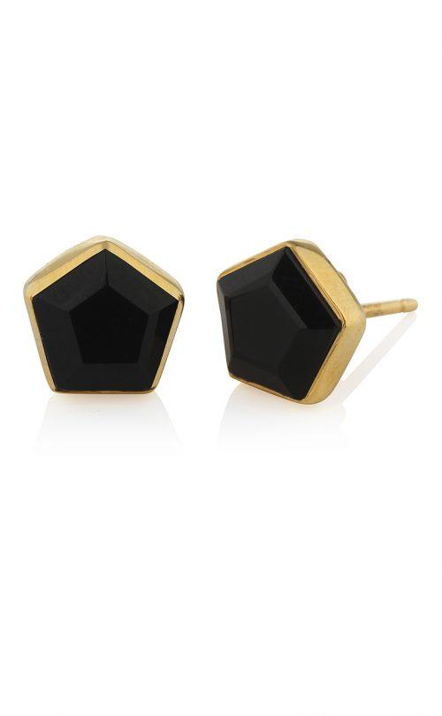 Myra Stud Earrings Black Onyx Gold