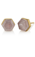 Icosa Stud Earring Rose Quartz gold