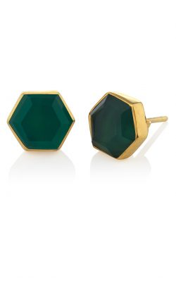 Icosa Stud Earring Green Onyx Gold