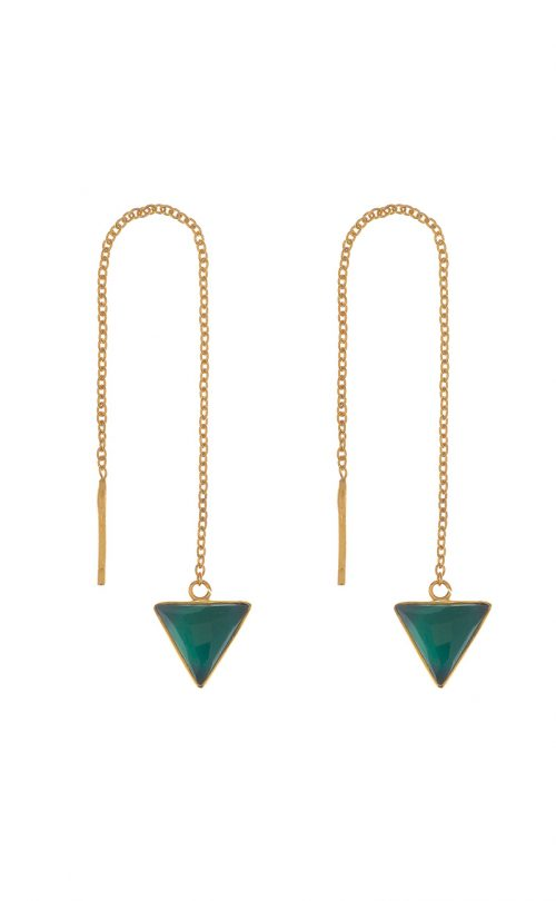 Immersion Earring Green Onyx Gold