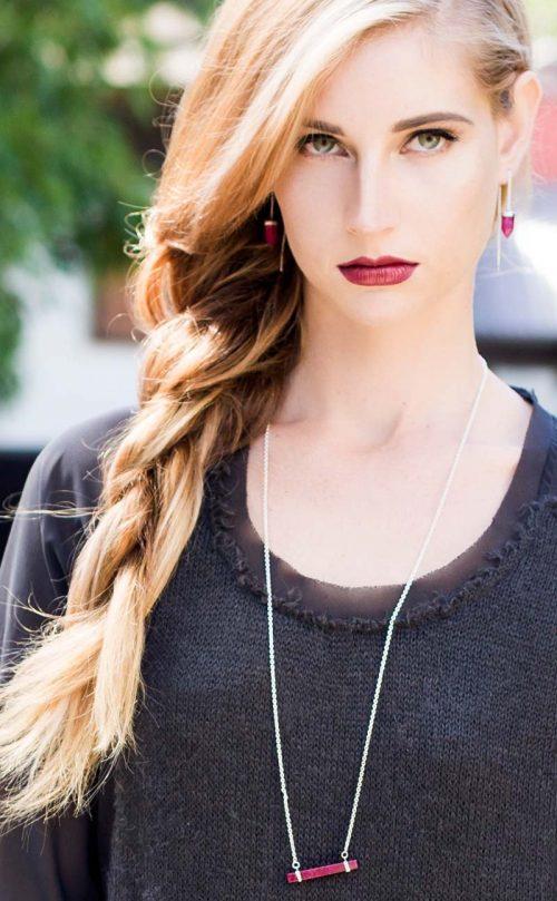 Transcend Earring Ruby Silver