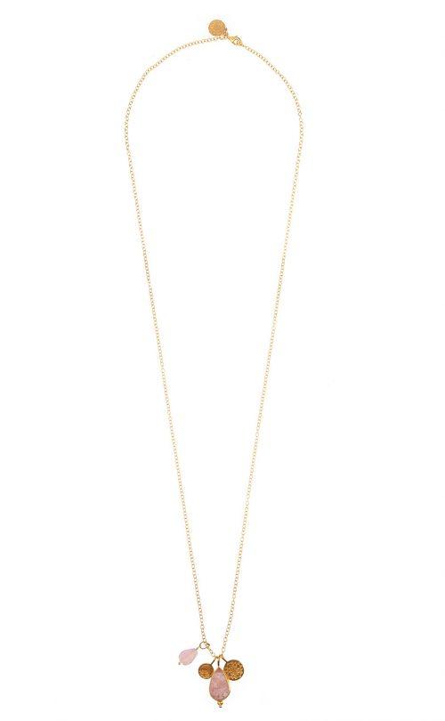 Capture Necklace Strawberry Quartz and Rose Quartz Gold