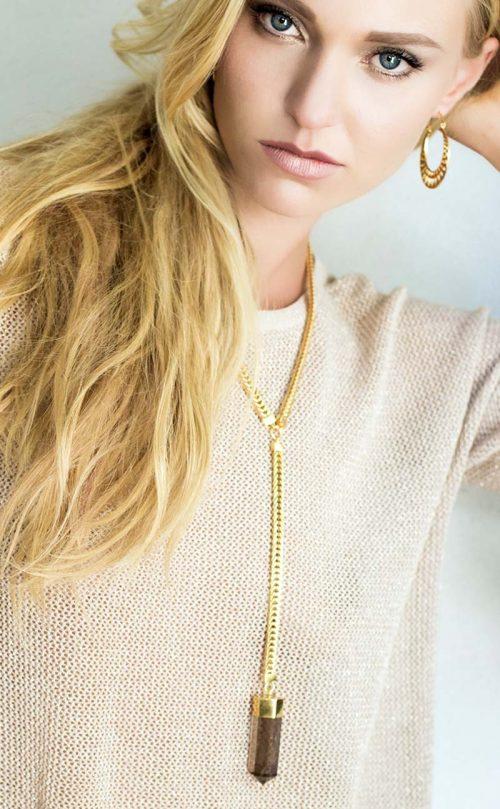 Gerorgia Necklace Smoky Quartz Gold