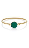 Flow Bracelet Green Onyx Gold