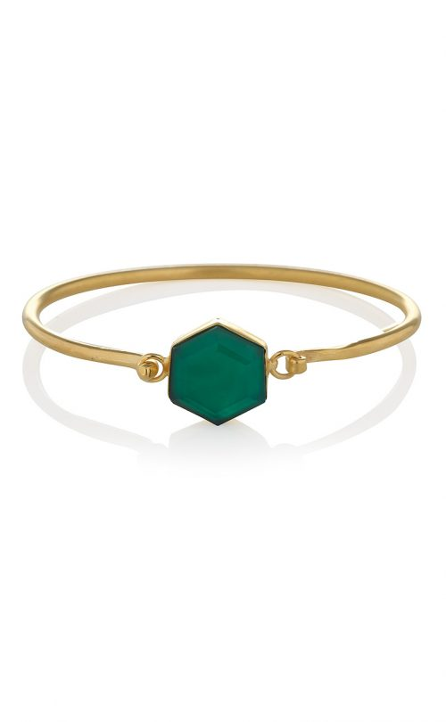Flow Bracelet Green Onyx Gold