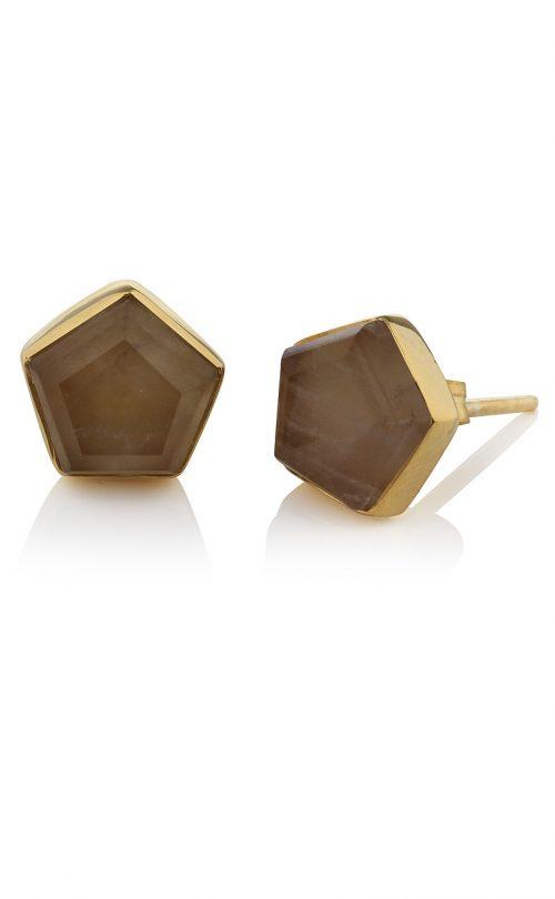 Myra Stud Earrings Smoky Quartz Gold