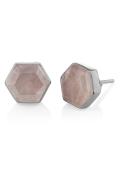 Icosa Stud Rose Quartz silver