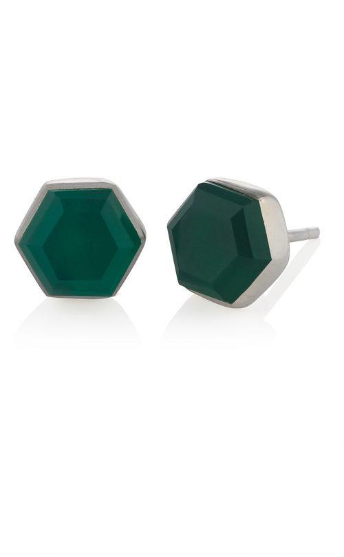 Icosa Stud Earring Green Onyx Silver