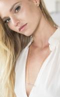 Icosa Stud Earring Rose Quartz gold