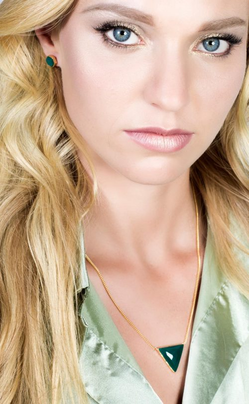 Icosa Stud Earring Green Onyx Gold